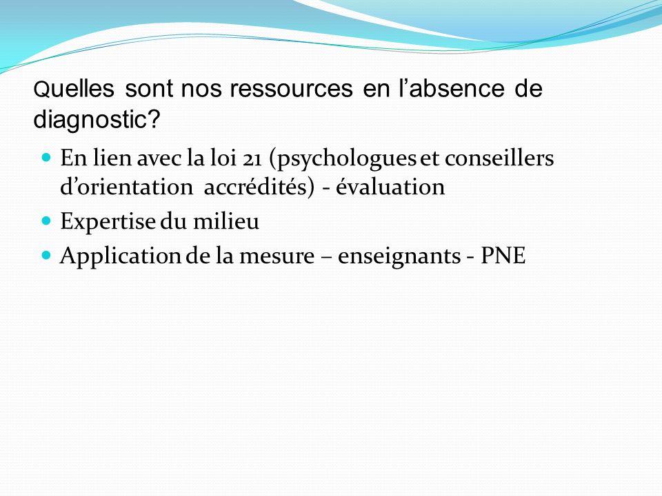 Q uelles sont nos ressources en labsence de diagnostic? En lien avec la loi 21 (psychologues et conseillers dorientation accrédités) - évaluation Expe