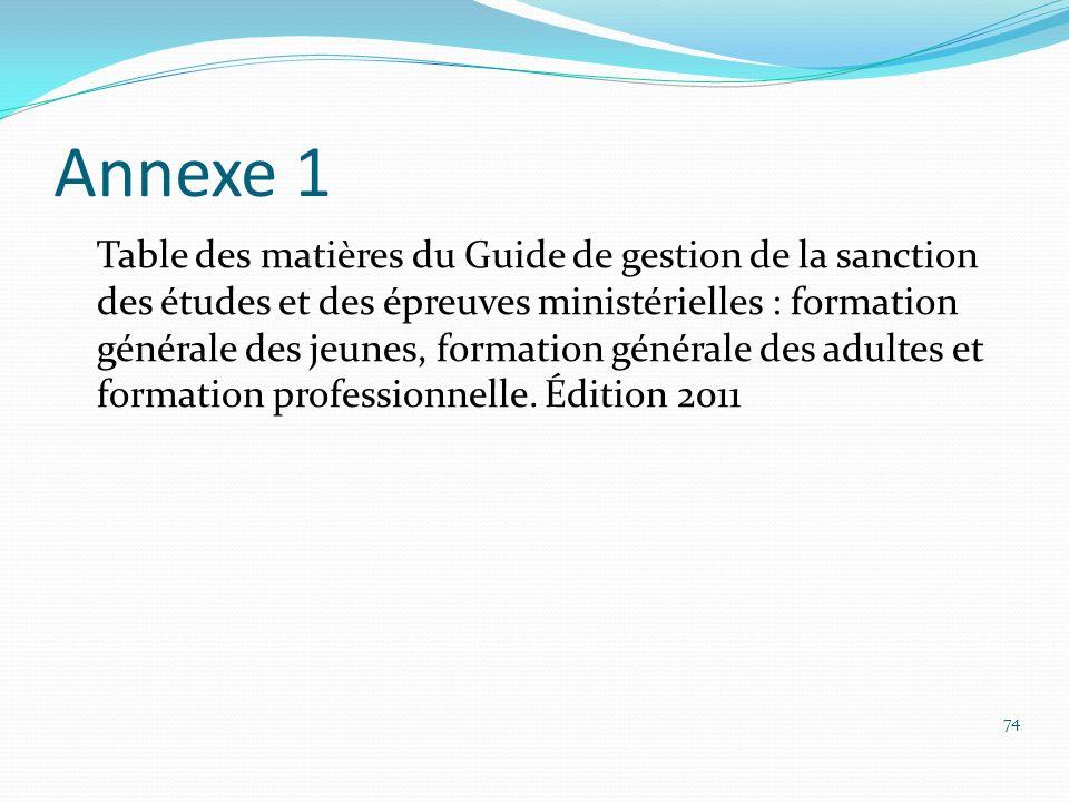 Annexe 1 Table des matières du Guide de gestion de la sanction des études et des épreuves ministérielles : formation générale des jeunes, formation gé