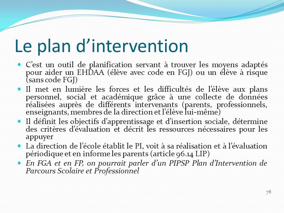 Le plan dintervention Cest un outil de planification servant à trouver les moyens adaptés pour aider un EHDAA (élève avec code en FGJ) ou un élève à r