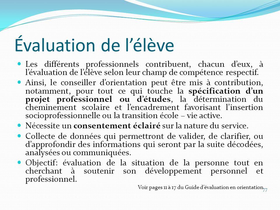 Évaluation de lélève Les différents professionnels contribuent, chacun deux, à lévaluation de lélève selon leur champ de compétence respectif. Ainsi,