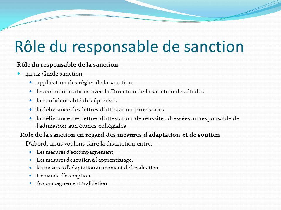 Rôle du responsable de sanction Rôle du responsable de la sanction 4.1.1.2 Guide sanction application des règles de la sanction les communications ave