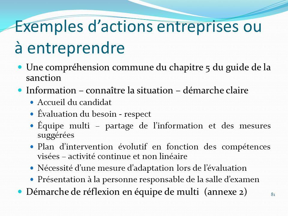 Exemples dactions entreprises ou à entreprendre Une compréhension commune du chapitre 5 du guide de la sanction Information – connaître la situation –