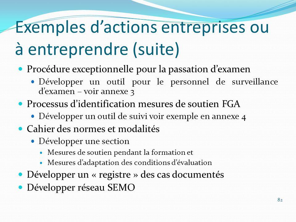 Exemples dactions entreprises ou à entreprendre (suite) Procédure exceptionnelle pour la passation dexamen Développer un outil pour le personnel de su