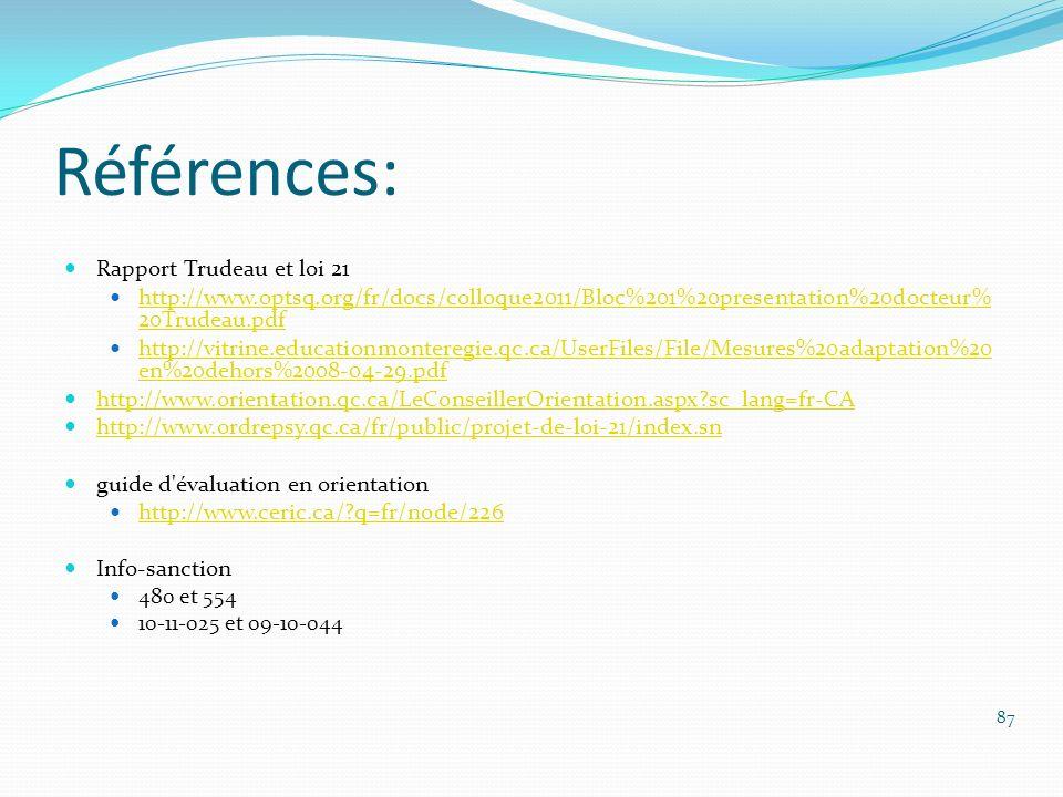 Références: Rapport Trudeau et loi 21 http://www.optsq.org/fr/docs/colloque2011/Bloc%201%20presentation%20docteur% 20Trudeau.pdf http://www.optsq.org/