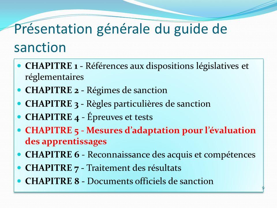 Présentation générale du guide de sanction CHAPITRE 1 - Références aux dispositions législatives et réglementaires CHAPITRE 2 - Régimes de sanction CH