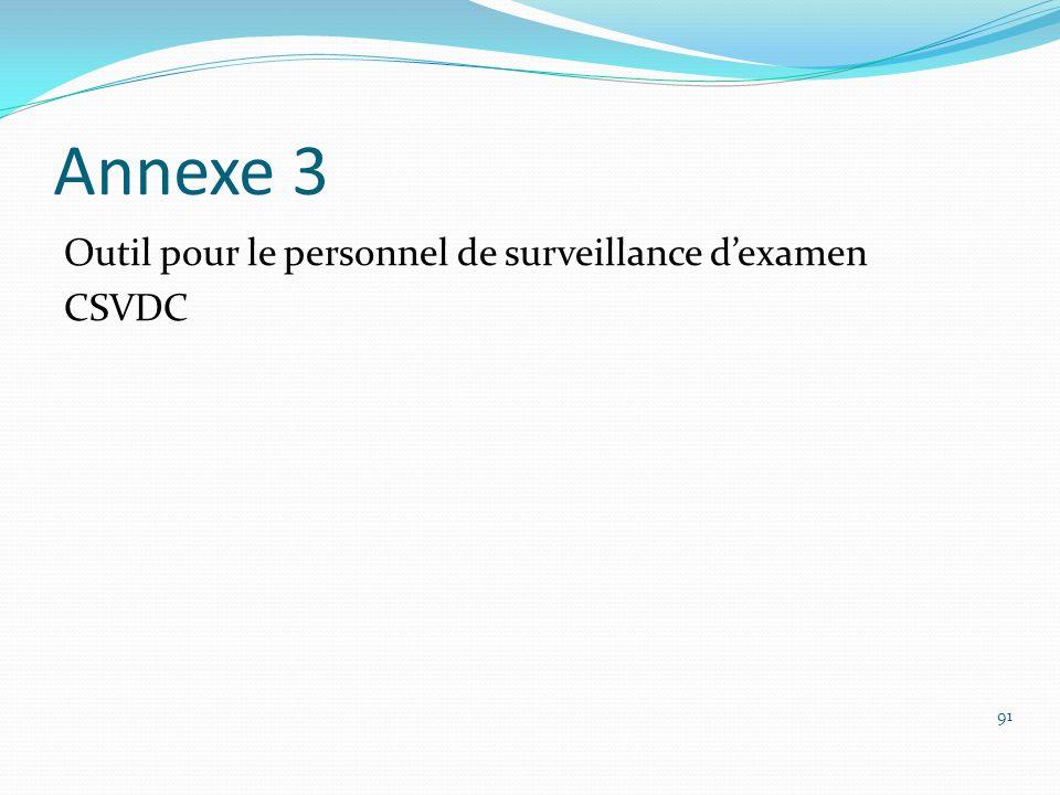 Annexe 3 Outil pour le personnel de surveillance dexamen CSVDC 91