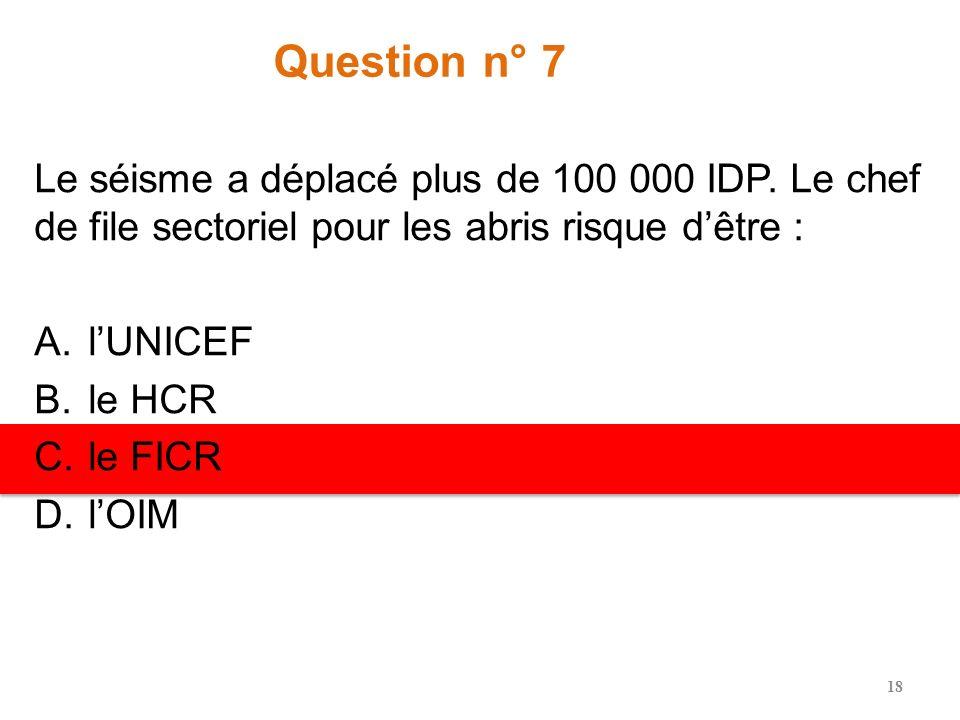 Question n° 6 Selon les conseils de coordination des clusters de la FAO, les clusters sont importants pour la FAO en partie parce quils permettent à l