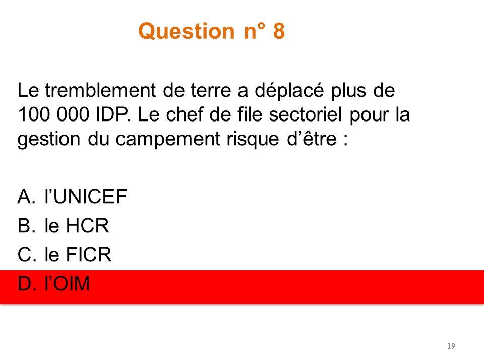 Question n° 7 Le séisme a déplacé plus de 100 000 IDP. Le chef de file sectoriel pour les abris risque dêtre : A.lUNICEF B.le HCR C.le FICR D.lOIM 18