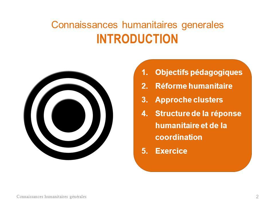CONNAISSANCES HUMANITAIRES GENERALES