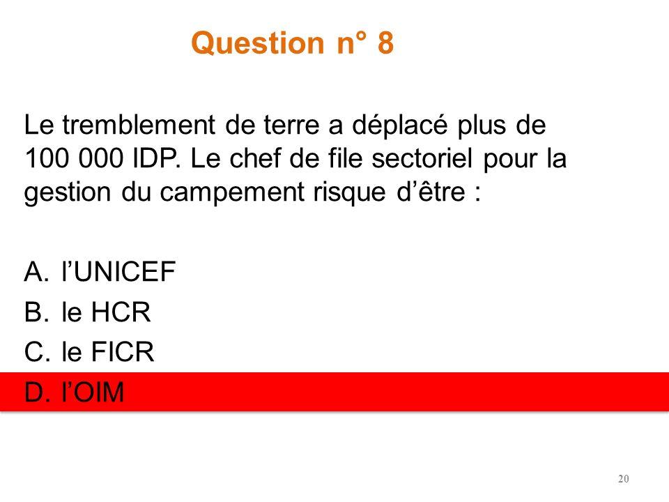 Question n° 8 Le tremblement de terre a déplacé plus de 100 000 IDP. Le chef de file sectoriel pour la gestion du campement risque dêtre : A.lUNICEF B