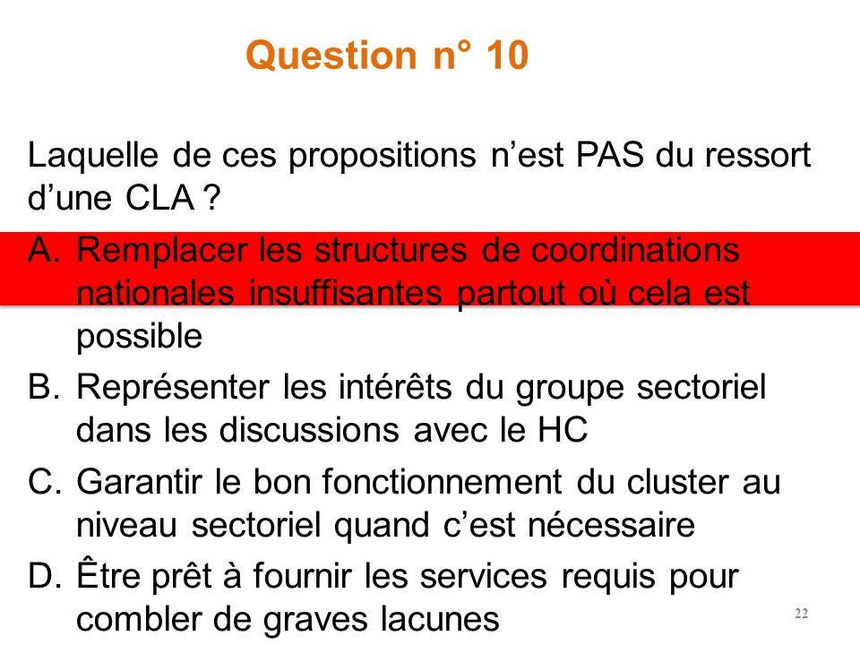 Question n° 9 Les procédures opérationnelles standard pour les clusters en cas durgence complexe exige la création immédiate de A.Groupes de travail p