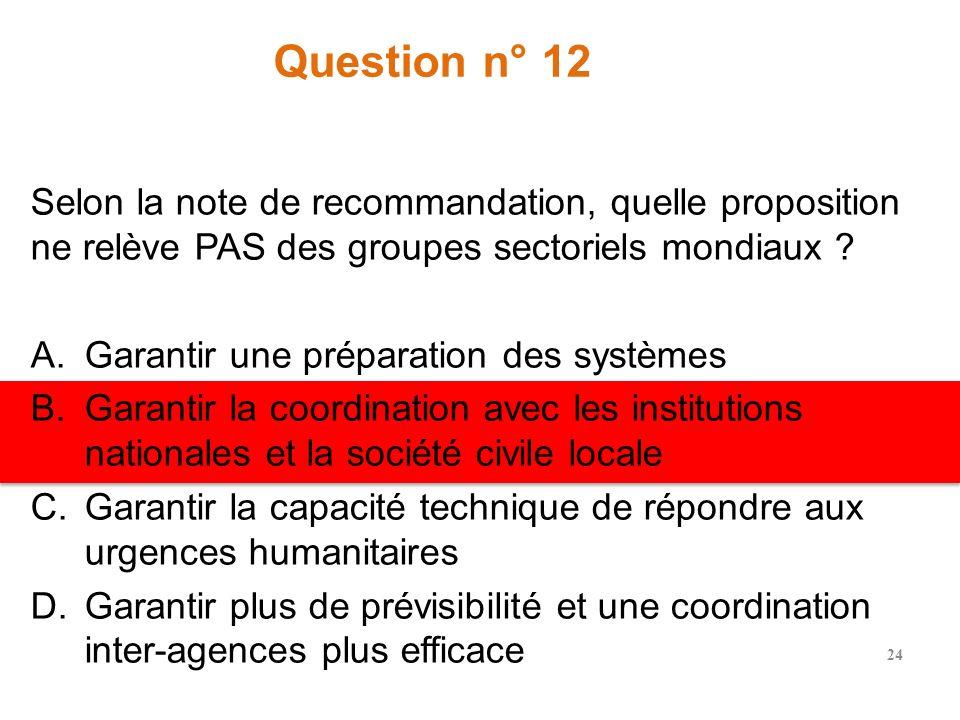 Question n° 11 La fonction Agence de dernier recours doit être activée quand laquelle de ces conditions est remplie : A.Le cluster reconnaît quil y a
