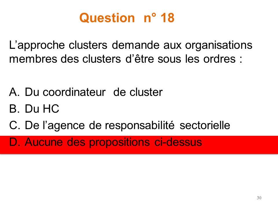 Question n° 17 ____________ est censé(e) plaider et se mobiliser en faveur de ressources pour le cluster en général. A.Lhomologue du gouvernement hôte