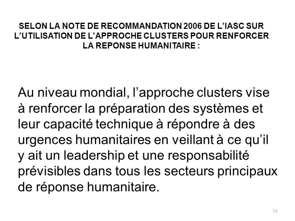 QUESTION GROS BONUS FINAL N° 20 Selon la note de recommandation 2006 de lIASC sur lutilisation de lapproche clusters pour renforcer la réponse humanit