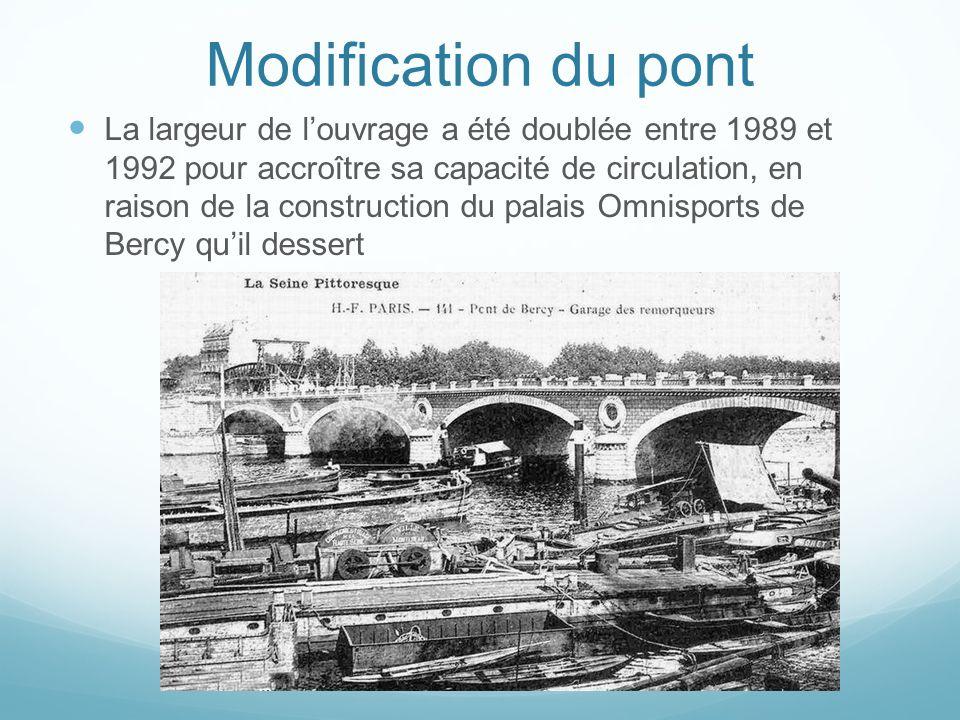 Modification du pont La largeur de louvrage a été doublée entre 1989 et 1992 pour accroître sa capacité de circulation, en raison de la construction d
