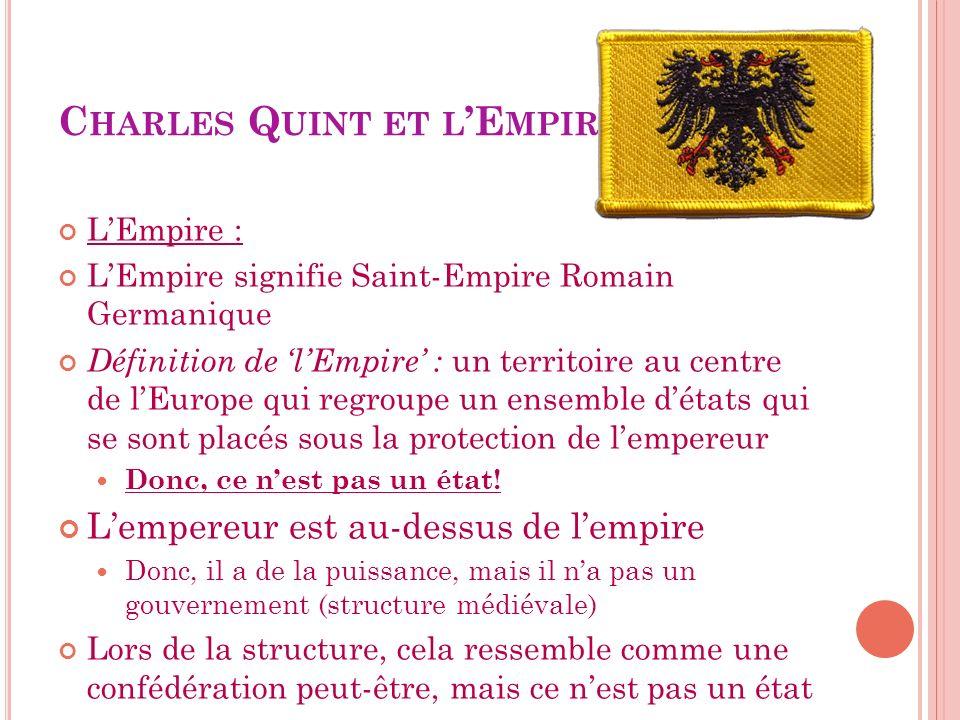 C HARLES Q UINT ET L E MPIRE LEmpire : LEmpire signifie Saint-Empire Romain Germanique Définition de lEmpire : un territoire au centre de lEurope qui