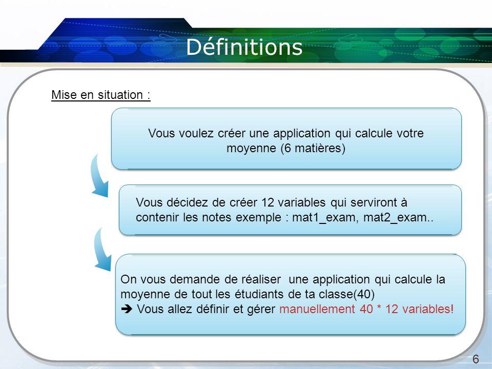 Définitions 6 Mise en situation : Vous voulez créer une application qui calcule votre moyenne (6 matières) Vous décidez de créer 12 variables qui serv