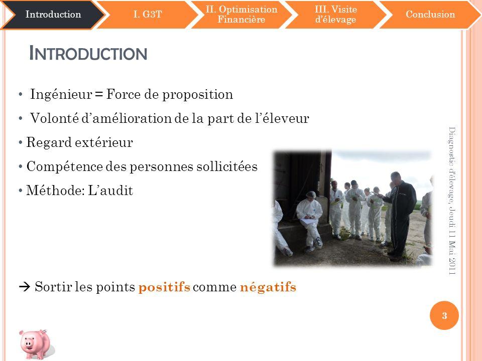 I NTRODUCTION IntroductionI. G3T II. Optimisation Financière III. Visite délevage Conclusion 3 Diagnostic d'élevage, Jeudi 11 Mai 2011 Ingénieur = For