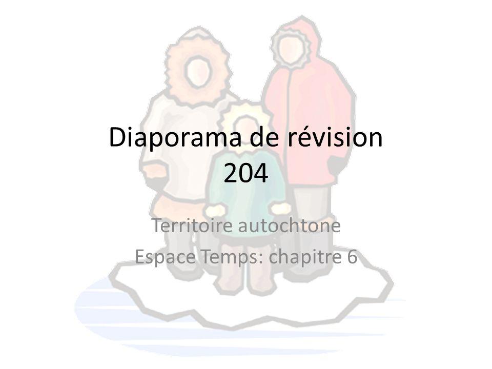 Diaporama de révision 204 Territoire autochtone Espace Temps: chapitre 6
