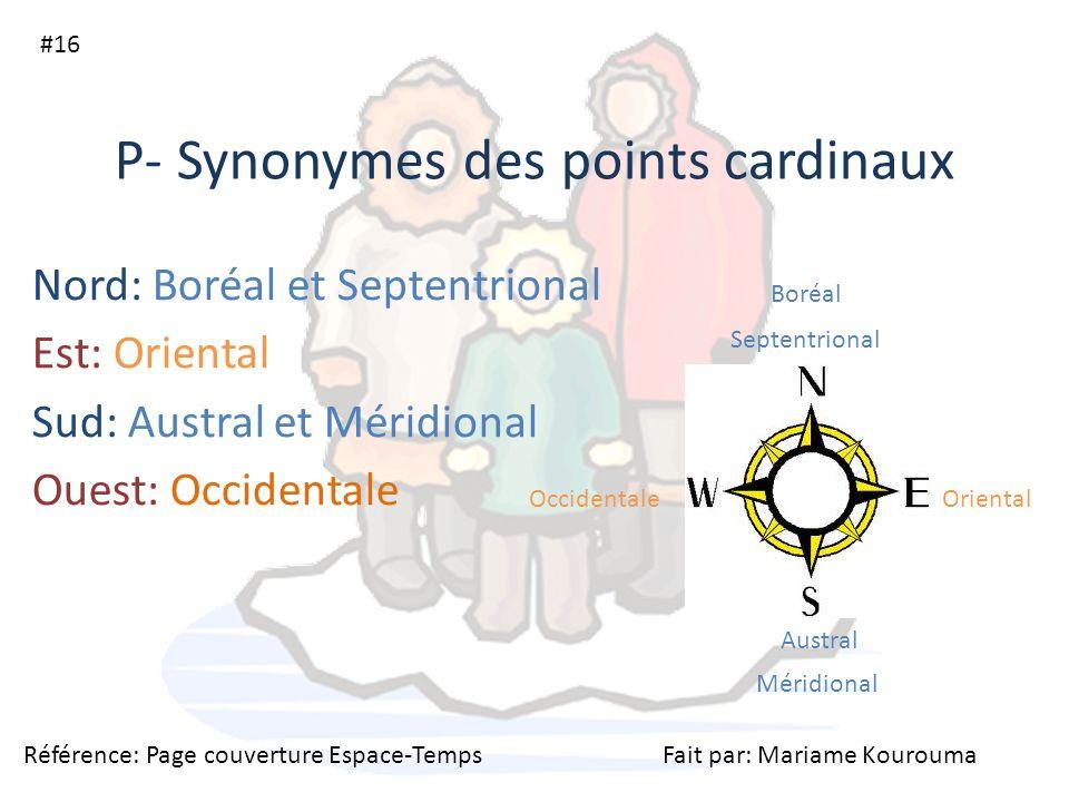P- Synonymes des points cardinaux Nord: Boréal et Septentrional Est: Oriental Sud: Austral et Méridional Ouest: Occidentale #16 Boréal Septentrional O