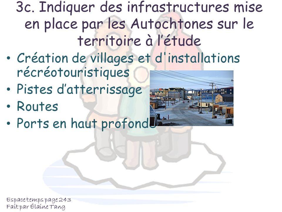 3c. Indiquer des infrastructures mise en place par les Autochtones sur le territoire à létude Création de villages et d'installations récréotouristiqu