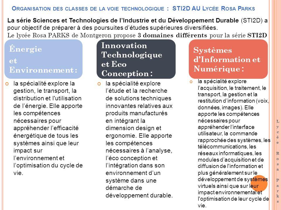 O RGANISATION DES CLASSES DE LA VOIE TECHNOLOGIQUE : STI2D AU L YCÉE R OSA P ARKS la spécialité explore la gestion, le transport, la distribution et l utilisation de lénergie.