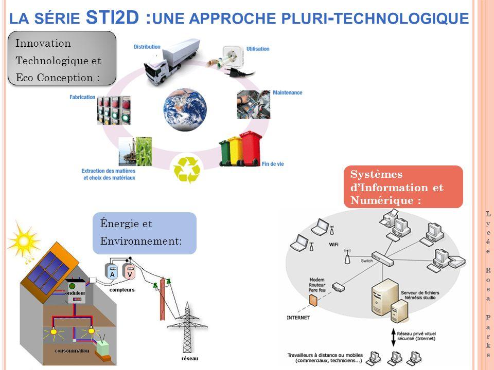 LA SÉRIE STI2D : UNE APPROCHE PLURI - TECHNOLOGIQUE Innovation Technologique et Eco Conception : Innovation Technologique et Eco Conception : Systèmes dInformation et Numérique : Énergie et Environnement: