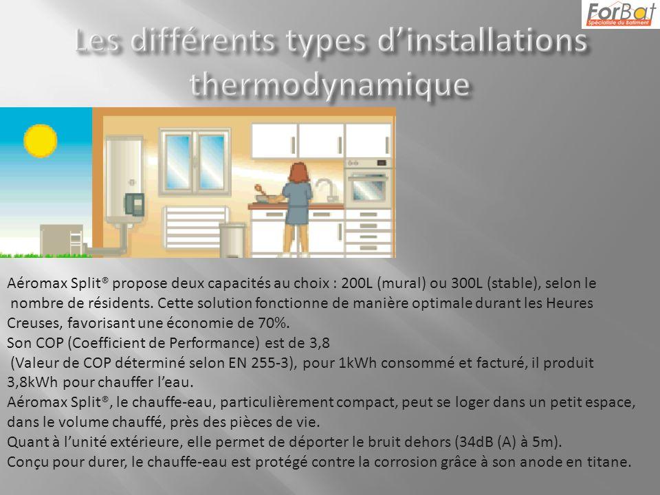 Aéromax Split® propose deux capacités au choix : 200L (mural) ou 300L (stable), selon le nombre de résidents.