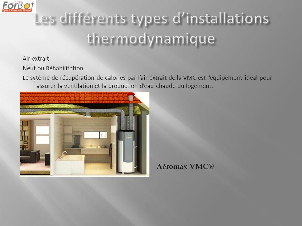 Air extrait Neuf ou Réhabilitation Le sytème de récupération de calories par lair extrait de la VMC est léquipement idéal pour assurer la ventilation et la production deau chaude du logement.