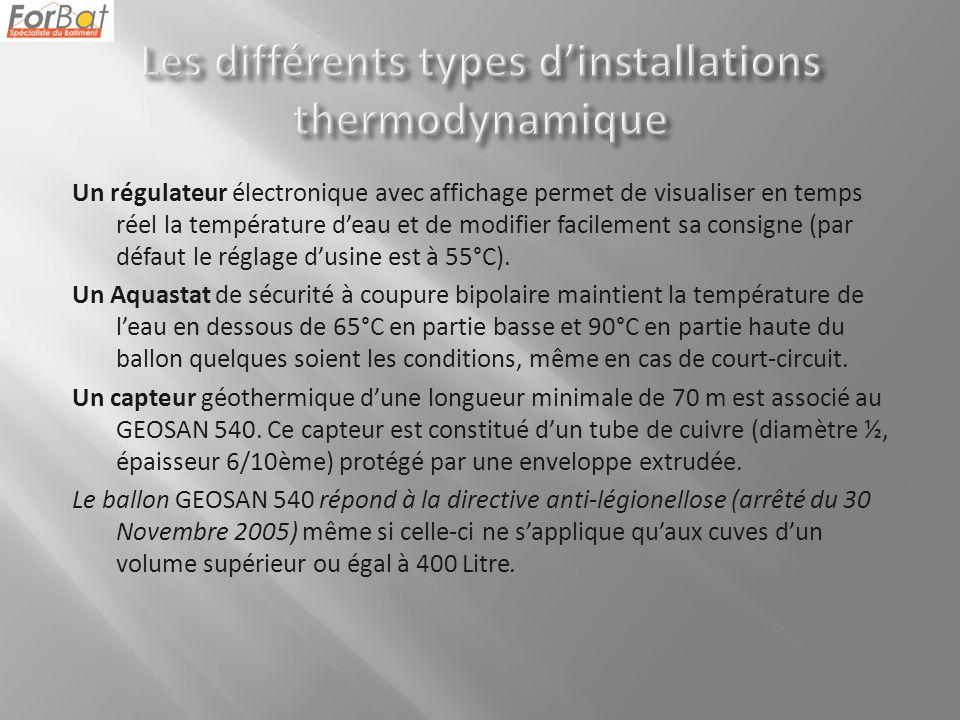 Un régulateur électronique avec affichage permet de visualiser en temps réel la température deau et de modifier facilement sa consigne (par défaut le réglage dusine est à 55°C).