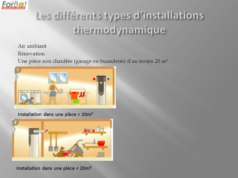 Air ambiant Rénovation Une pièce non chauffée (garage ou buanderie) dau moins 20 m².