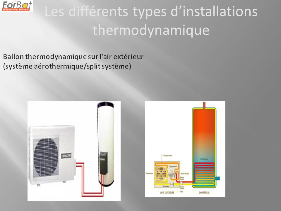 Les différents types dinstallations thermodynamique