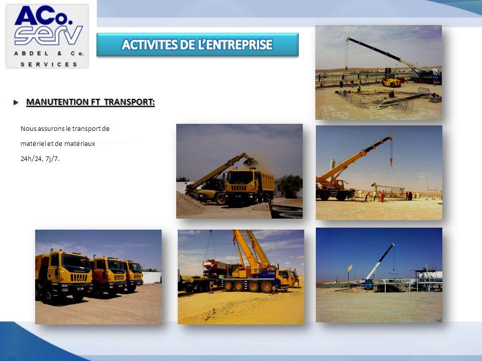 MANUTENTION FT TRANSPORT: Nous assurons le transport de matériel et de matériaux 24h/24, 7j/7.