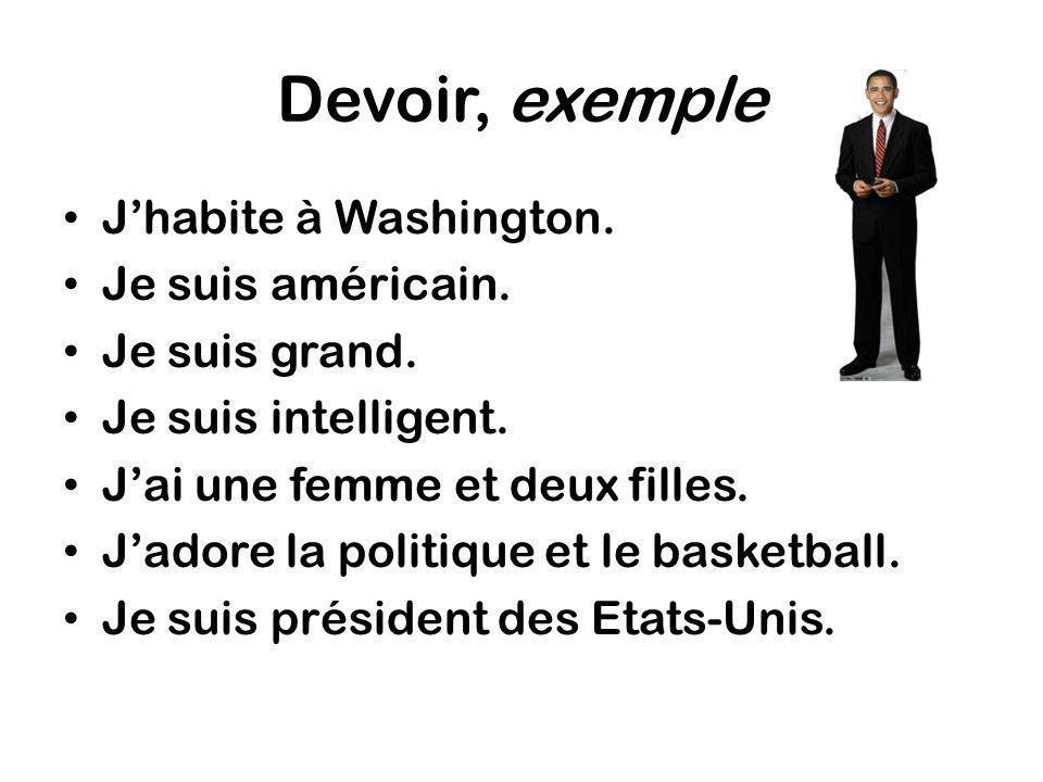 Devoir, exemple Jhabite à Washington. Je suis américain. Je suis grand. Je suis intelligent. Jai une femme et deux filles. Jadore la politique et le b
