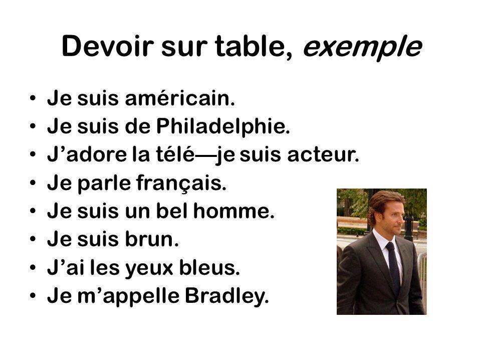 Devoir sur table, exemple Je suis américain. Je suis de Philadelphie. Jadore la téléje suis acteur. Je parle français. Je suis un bel homme. Je suis b