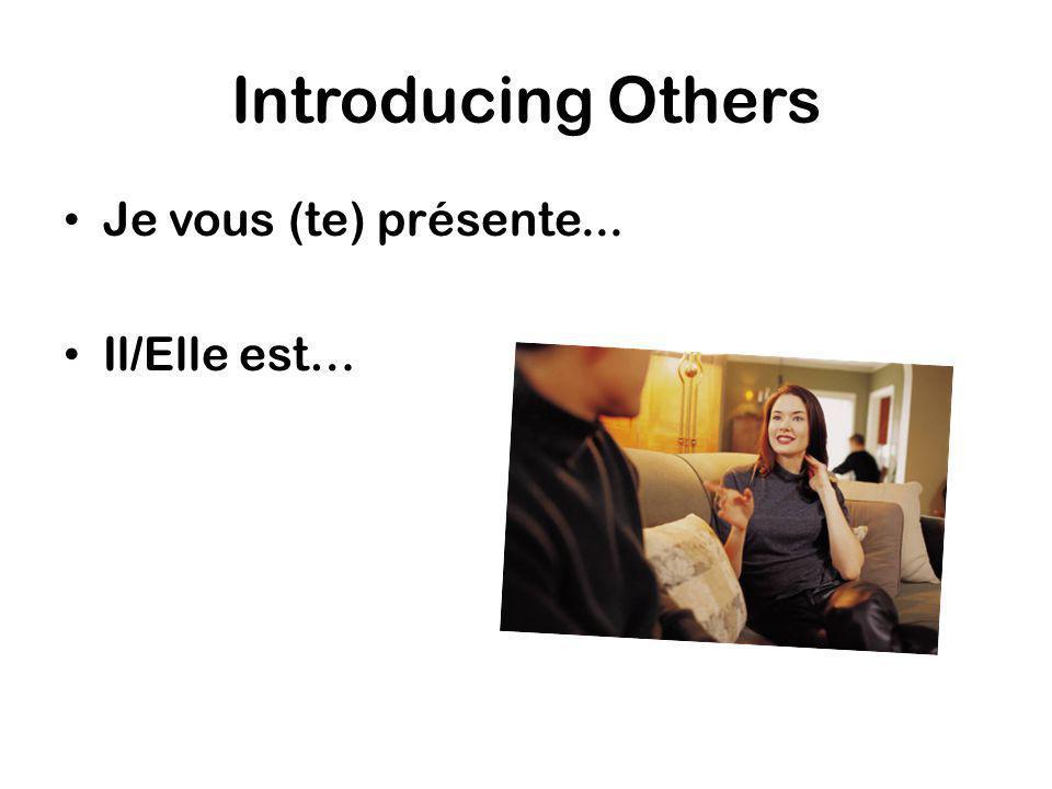 Introducing Others Je vous (te) présente... Il/Elle est…