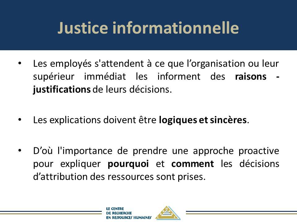 Justice informationnelle Les employés s attendent à ce que lorganisation ou leur supérieur immédiat les informent des raisons - justifications de leurs décisions.