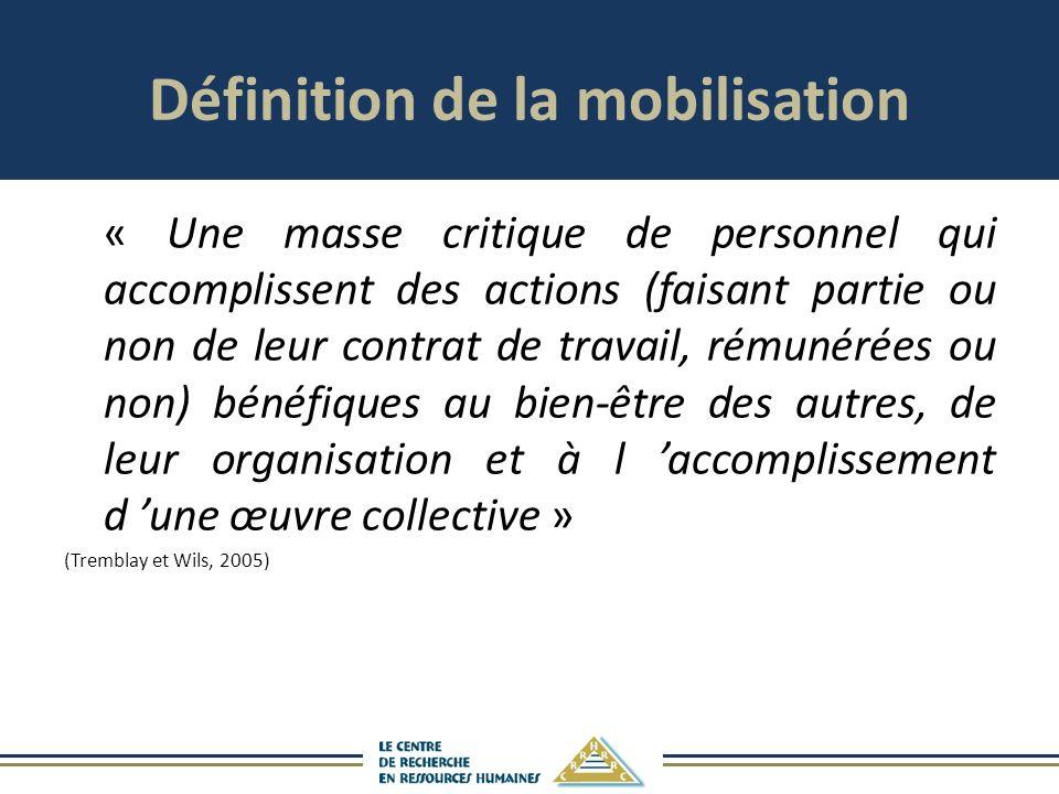 « Une masse critique de personnel qui accomplissent des actions (faisant partie ou non de leur contrat de travail, rémunérées ou non) bénéfiques au bien-être des autres, de leur organisation et à l accomplissement d une œuvre collective » (Tremblay et Wils, 2005) Définition de la mobilisation