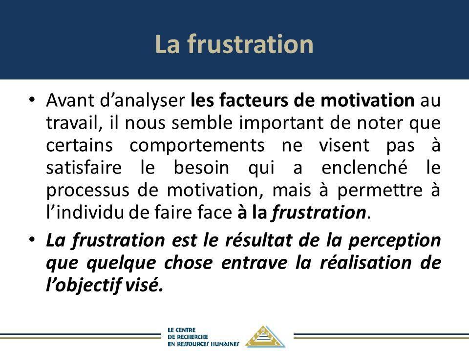 La frustration Avant danalyser les facteurs de motivation au travail, il nous semble important de noter que certains comportements ne visent pas à satisfaire le besoin qui a enclenché le processus de motivation, mais à permettre à lindividu de faire face à la frustration.