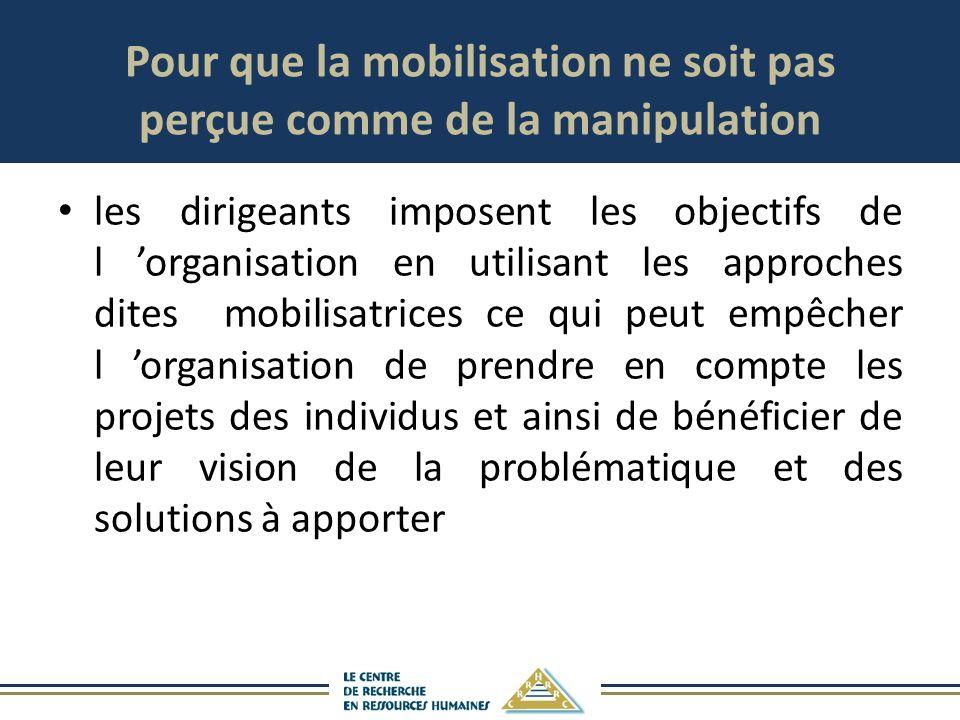 Pour que la mobilisation ne soit pas perçue comme de la manipulation les dirigeants imposent les objectifs de l organisation en utilisant les approches dites mobilisatrices ce qui peut empêcher l organisation de prendre en compte les projets des individus et ainsi de bénéficier de leur vision de la problématique et des solutions à apporter