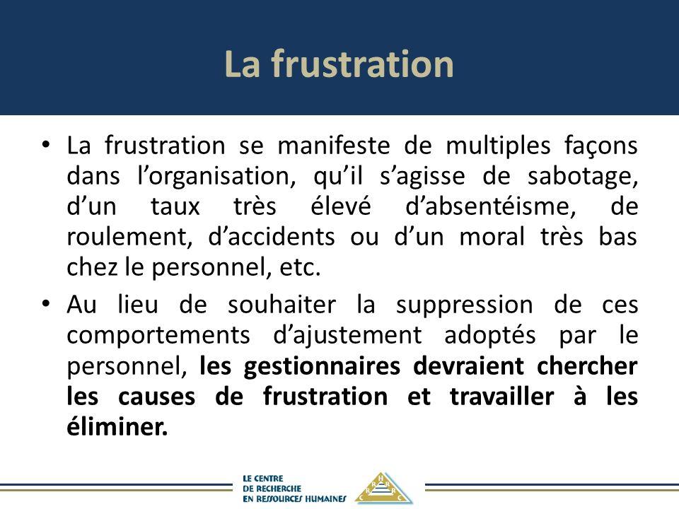 La frustration La frustration se manifeste de multiples façons dans lorganisation, quil sagisse de sabotage, dun taux très élevé dabsentéisme, de roulement, daccidents ou dun moral très bas chez le personnel, etc.