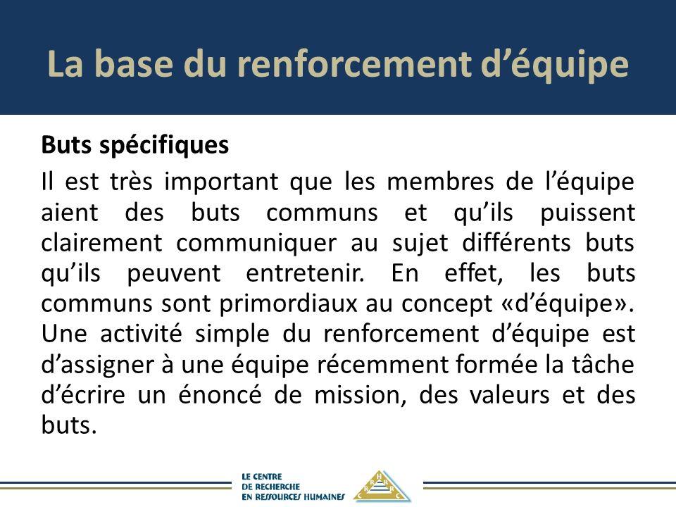 La base du renforcement déquipe Buts spécifiques Il est très important que les membres de léquipe aient des buts communs et quils puissent clairement communiquer au sujet différents buts quils peuvent entretenir.