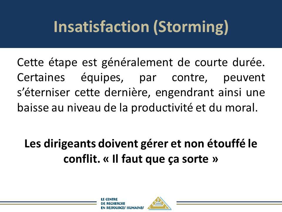 Insatisfaction (Storming) Cette étape est généralement de courte durée.