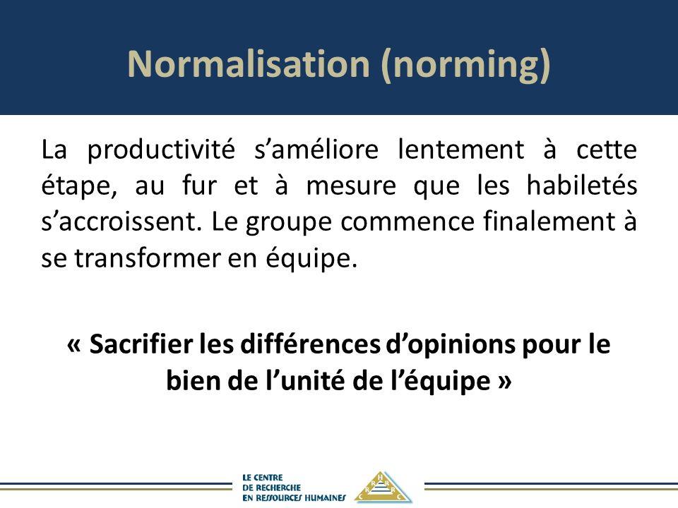 Normalisation (norming) La productivité saméliore lentement à cette étape, au fur et à mesure que les habiletés saccroissent.