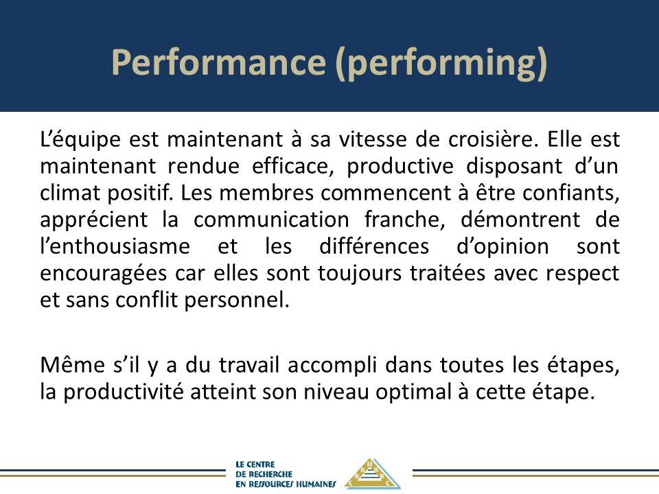 Performance (performing) Léquipe est maintenant à sa vitesse de croisière.
