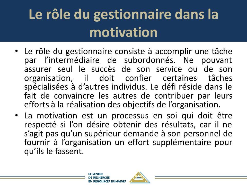 Le rôle du gestionnaire dans la motivation Le rôle du gestionnaire consiste à accomplir une tâche par lintermédiaire de subordonnés.