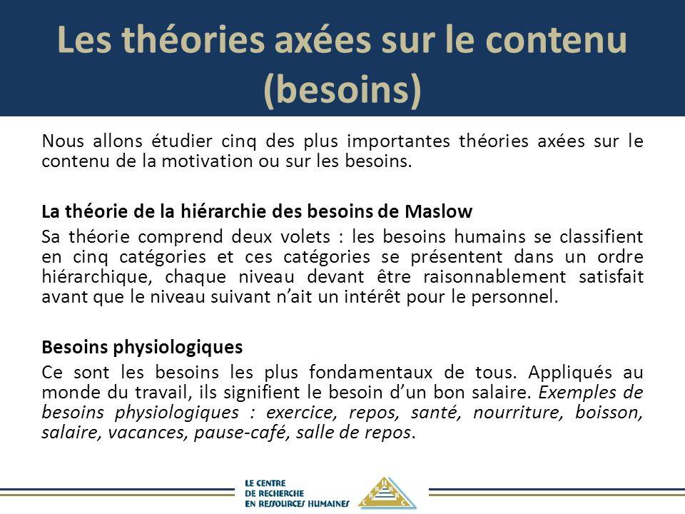 Les théories axées sur le contenu (besoins) Nous allons étudier cinq des plus importantes théories axées sur le contenu de la motivation ou sur les besoins.