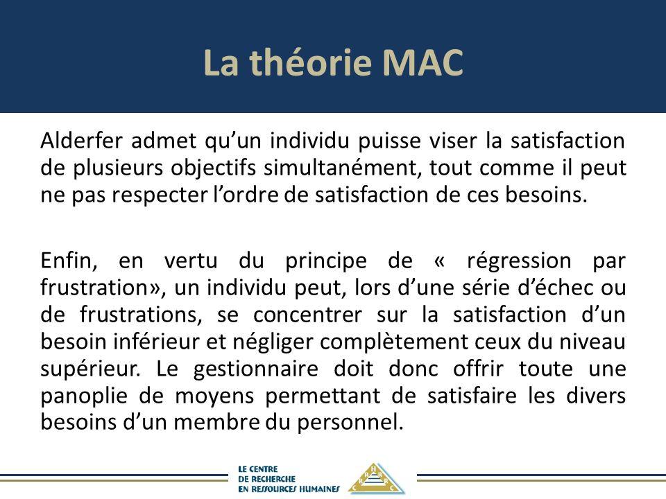 La théorie MAC Alderfer admet quun individu puisse viser la satisfaction de plusieurs objectifs simultanément, tout comme il peut ne pas respecter lordre de satisfaction de ces besoins.