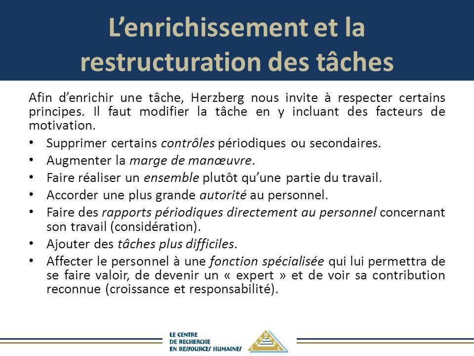 Lenrichissement et la restructuration des tâches Afin denrichir une tâche, Herzberg nous invite à respecter certains principes.