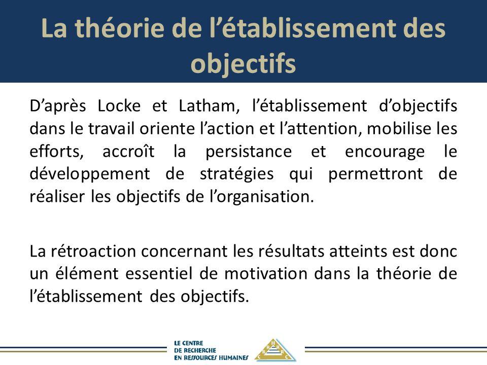 La théorie de létablissement des objectifs Daprès Locke et Latham, létablissement dobjectifs dans le travail oriente laction et lattention, mobilise les efforts, accroît la persistance et encourage le développement de stratégies qui permettront de réaliser les objectifs de lorganisation.